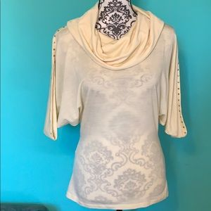 Theory Stretch Sheer Cowl Neck Loose Arm Blouse S